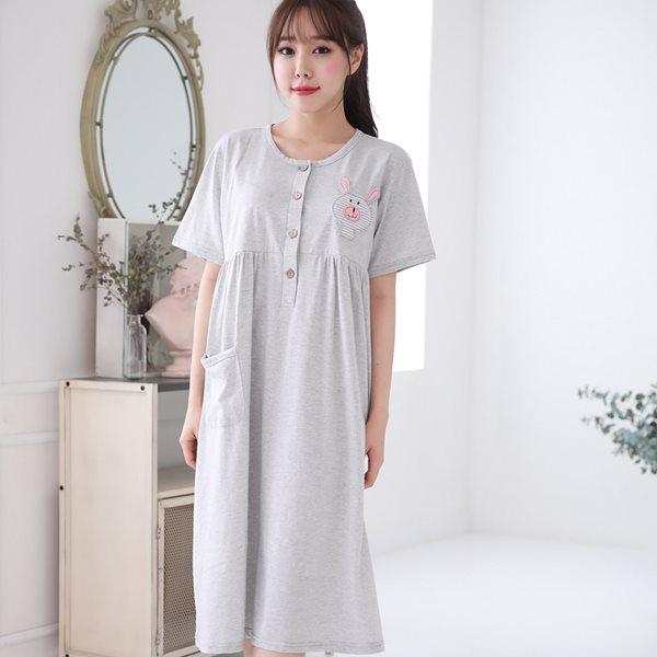 솔로 6851 ST래빗 반팔원피스/홈웨어/이지웨어/잠옷