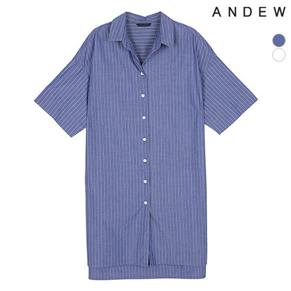 [ANDEW]여성 기본카라 스트라이프 원피스셔츠(O182SH620P)