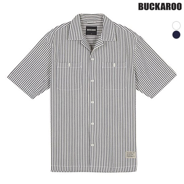 [BUCKAROO]남성 시어서커 오픈카라 반셔츠(B182SH440P)