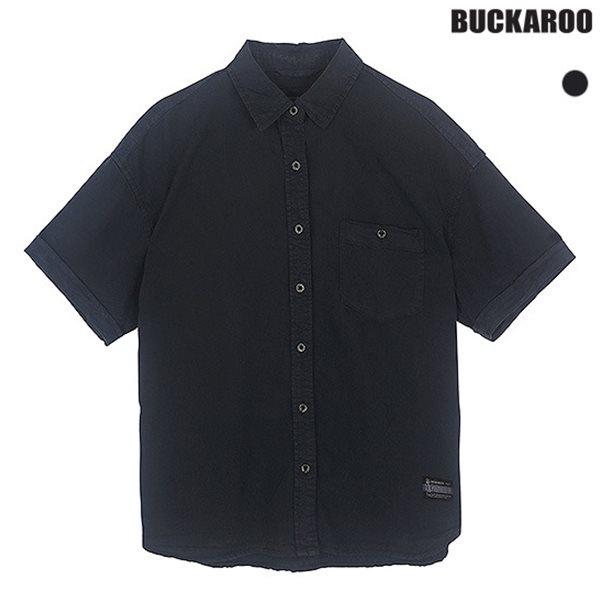 [BUCKAROO]유니 텐셀 인디고 다잉/워싱 기본카라 반팔셔츠(B182SH130P)