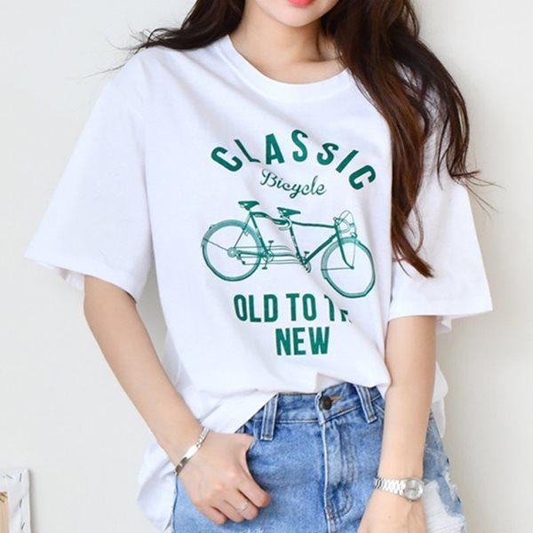 [드레스날다] 클래식 프린팅 라운드 반팔 티셔츠(tee722)
