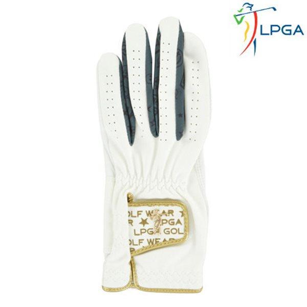 [LPGA]남) 골드 스윙레이디 와펜 포인트 반양피 골프장갑(L175AG101P)