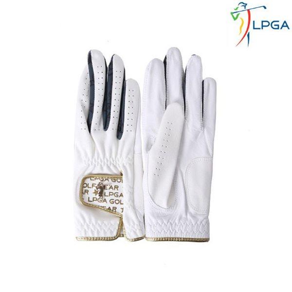 [LPGA]여) 골드 스윙레이디 와펜 포인트 반양피 골프장갑(L175AG501P)
