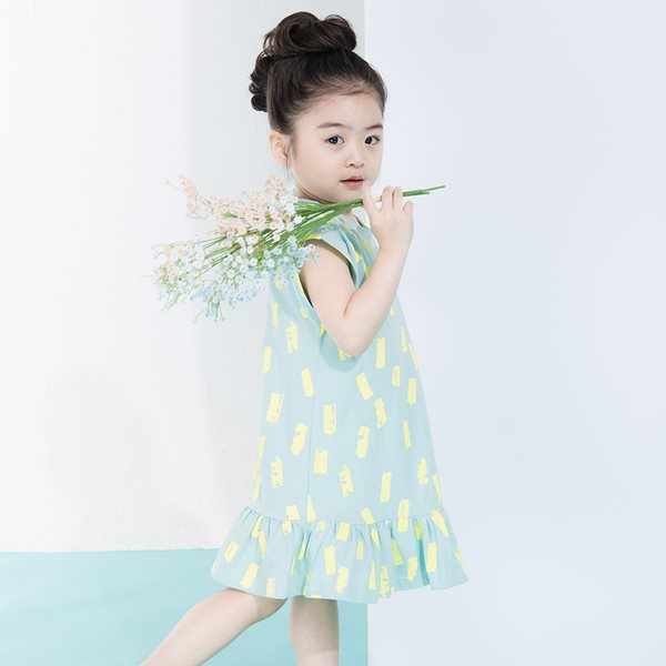 삐삐롱 옐로우페인팅 5부 여아원피스/아동실내복