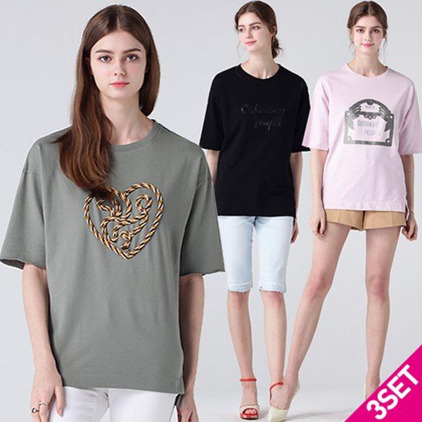 3SET [르오트(LeOT)] 레터링 쥬얼 코튼100 튜닉 티셔츠 3종세트