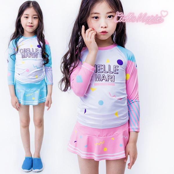 무료배송 [CielleMarin]Kids 아동래쉬가드 마시멜로 상하의SK 세트/수영복/래시가드
