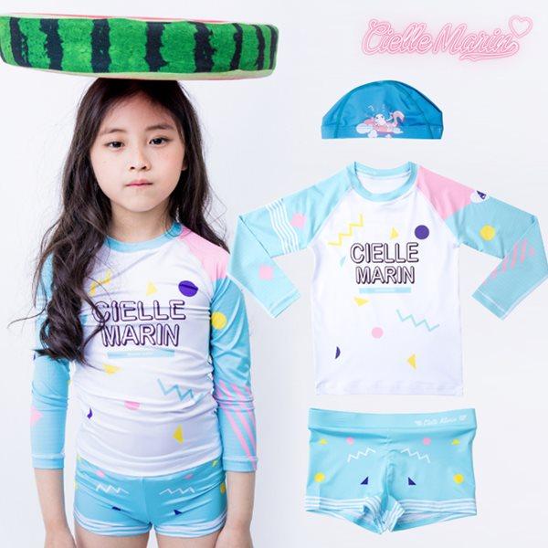 무료배송 [CielleMarin]Kids 아동래쉬가드 구름 SP상하의세트+수영모/수영복/래시가드