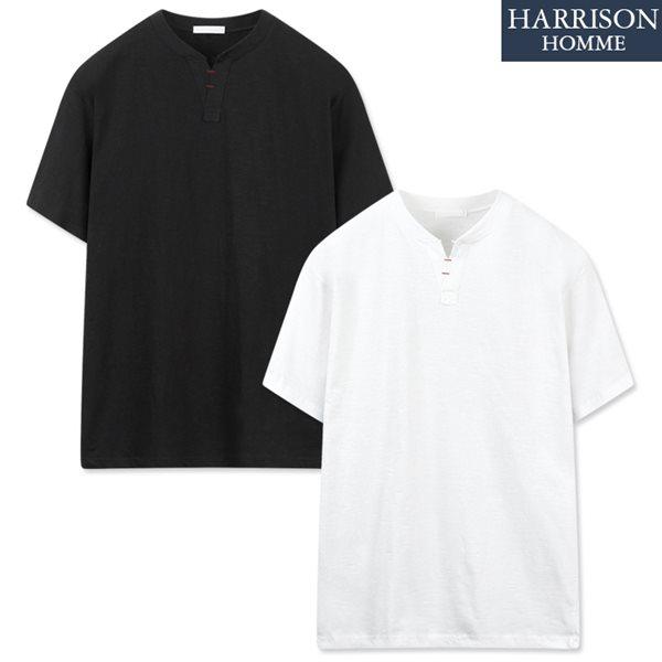 [해리슨] 브이 헨리넥 반팔 티셔츠 NTC1355