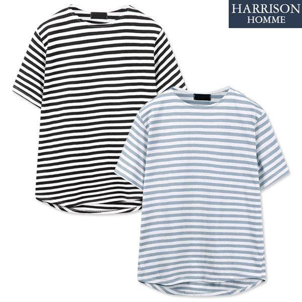 [해리슨] 스트라이프 보트넥 반팔 티셔츠 NGD1007