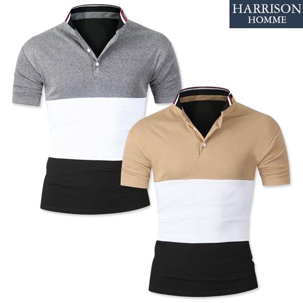 [해리슨] 3단 배색 반팔 카라 반팔 티셔츠 DBS1206