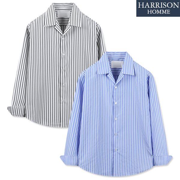 [해리슨] 유러피안 스트라이프 노카라 긴팔 셔츠 WMD1035