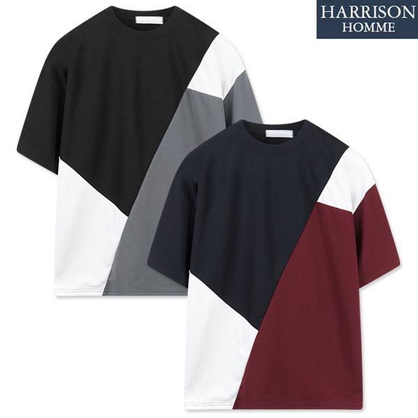 [해리슨] 사선 배색 반팔 티셔츠 RKM1129