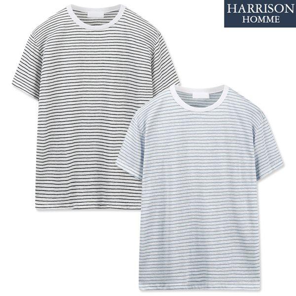 [해리슨] 썸머 린넨 단가라 반팔 티셔츠 LCS1060