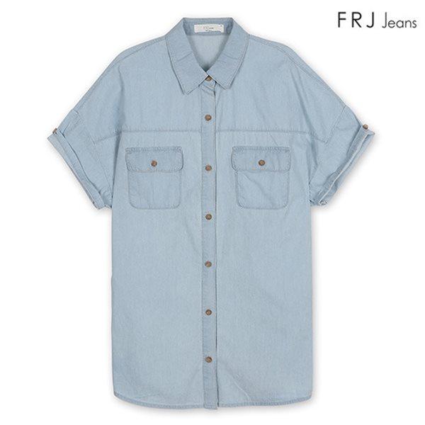 [FRJ]여성 청헤지소매롤업데님반팔셔츠 LBL (F42F-SH623B)
