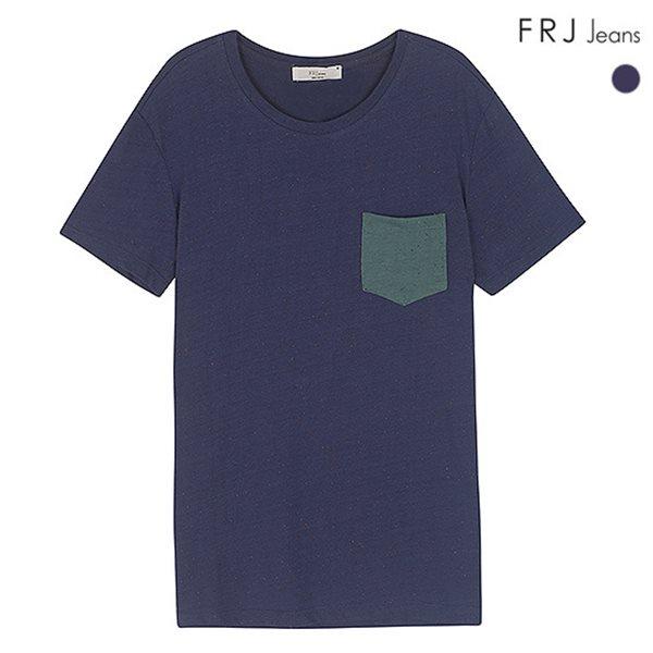[FRJ]남성 포켓배색면네프반팔티셔츠 (F42M-TM043B)