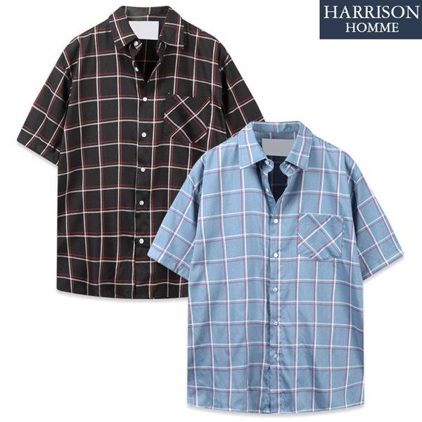 [해리슨] DS 사각 두줄 반팔 셔츠 MET1928