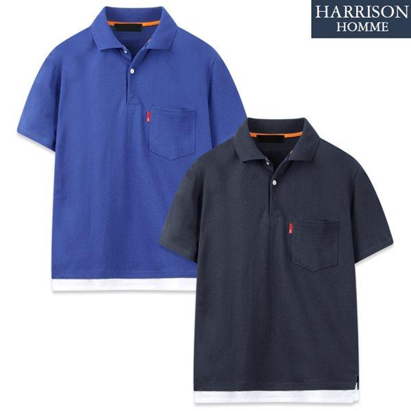[해리슨] 레이어드 카라 반팔 티셔츠 KTO1120