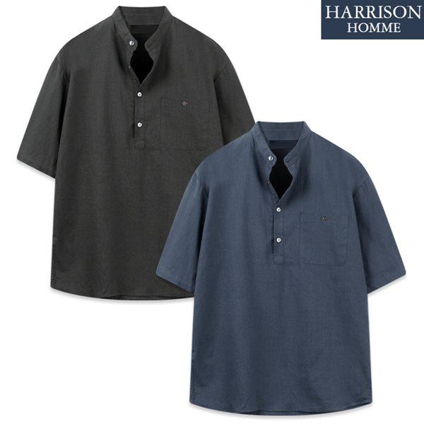 [해리슨] D2 벨르 헨리넥 반팔 셔츠 MET1932