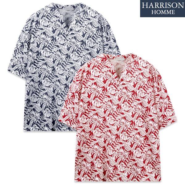 [해리슨] 리프 단작 하와이안 반팔 셔츠 RTW1558
