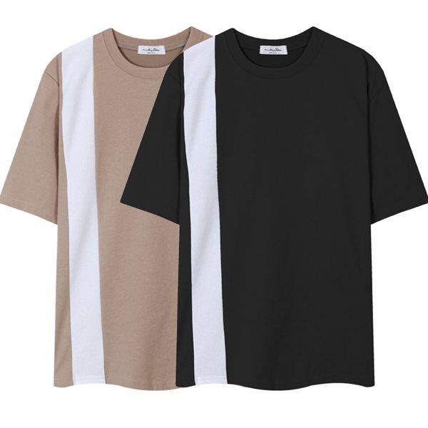 [레이먼] 절개 배색 분또 반팔 티셔츠 RH2354MB