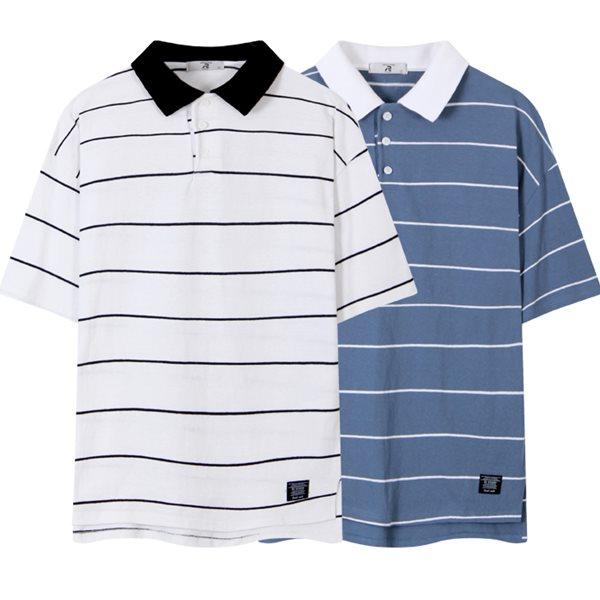 [레이먼] 10S 뎅깡 ST 오버핏 반팔 카라 티셔츠 RH2487RT
