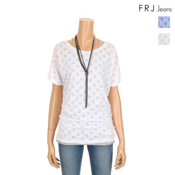 [FRJ]여성 도트번아웃루즈핏티셔츠 (F52F-TM593A)