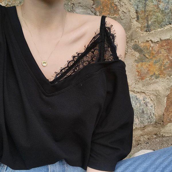 [드레스날다] 쇼콜 레이스 나시 레이어드 브이넥 티셔츠(mtee1050)