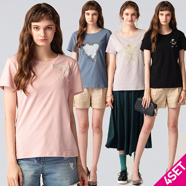 4SET [르오트(LeOT)] 스윗코튼 아트웍 프린트 티셔츠 4종세트