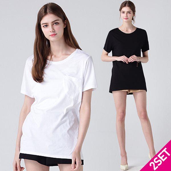 2SET [르오트(LeOT)] 프리미엄 베이직 코튼모달 티셔츠 2종세트(블랙+화이트)