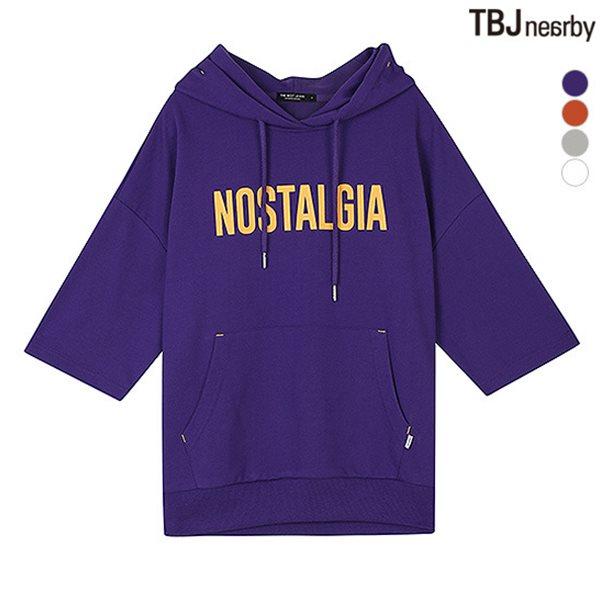 [TBJ]여성 미니쭈리 가슴레터링 7부 후드 티셔츠(T183TS650P)