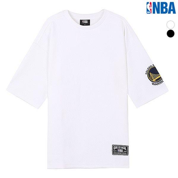 [NBA]GSW 소매자수 오버핏 반팔 티셔츠 (N183TS331P)