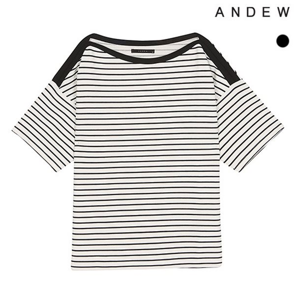 [ANDEW]여성 폴리스판 보트넥 스트라이프 반팔 티셔츠(O182TS500P)