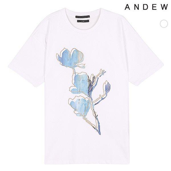 [ANDEW]남성 TC전판아트웍 플라워자수 반팔TS(O182TS340P)