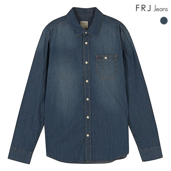 [FRJ]남성 도트프린트데님셔츠 (F51M-SH08ZB)