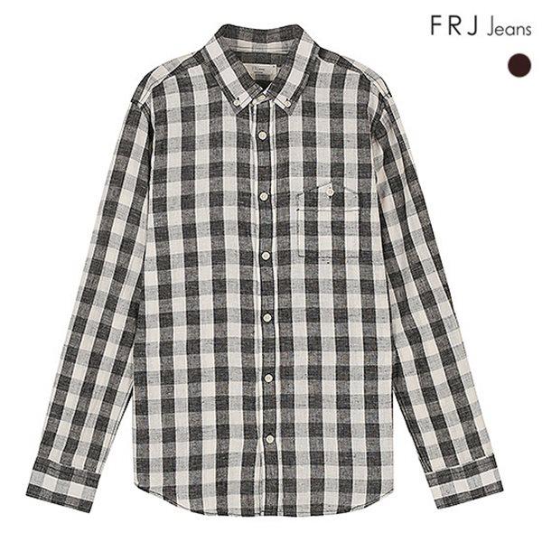 [FRJ]남성 면 린넨체크셔츠 (F55M-SH93ZB)