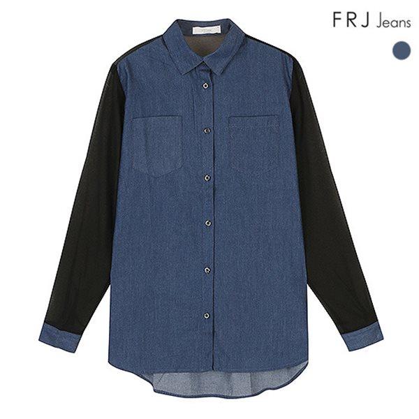 [FRJ]여성 데님등판 팔쉬폰배색셔츠 DBL (F51F-SH581A)