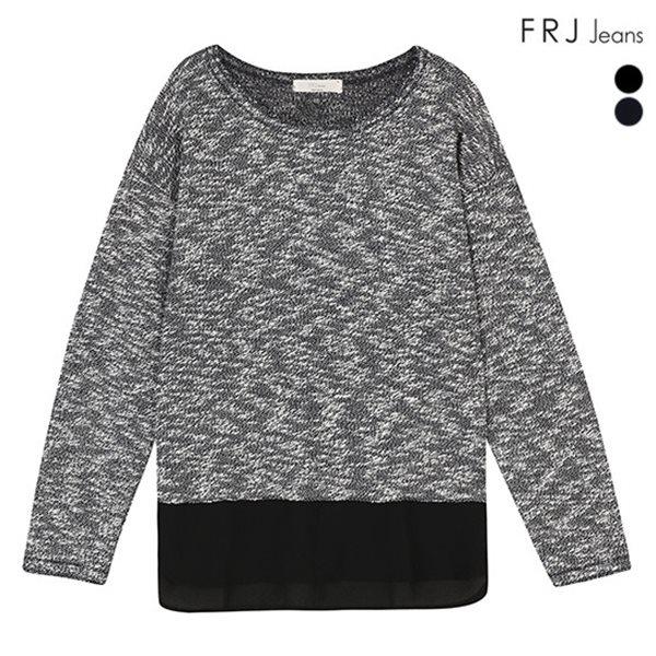 [FRJ]여성 슬럽변형소재쉬폰배색티셔츠 (F51F-TS51ZB)