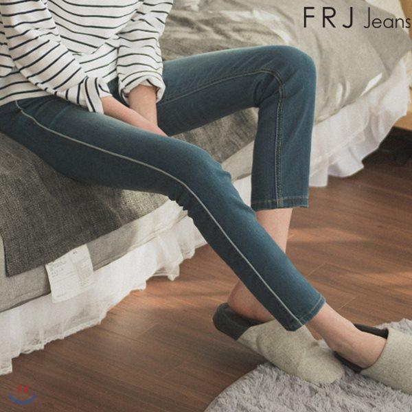 [FRJ]여성 L오비밴딩M톤워싱앵클슬림일자미드라이즈 MBL (F81F-DP252A)