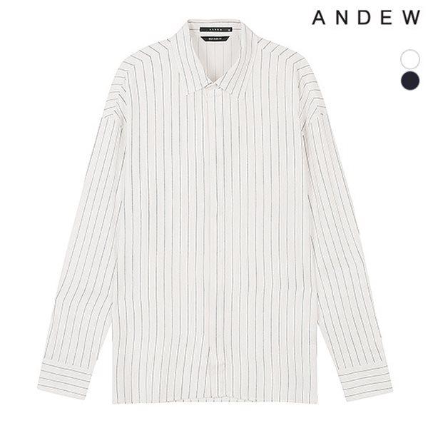 [ANDEW]남성 세미오버 기본카라 레이온 핀 스트라이프 셔츠(O183SH330P)