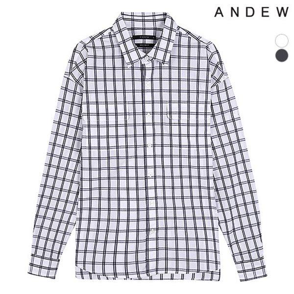 [ANDEW]남성 세미오버 기본카라 체크 셔츠(O183SH180P)