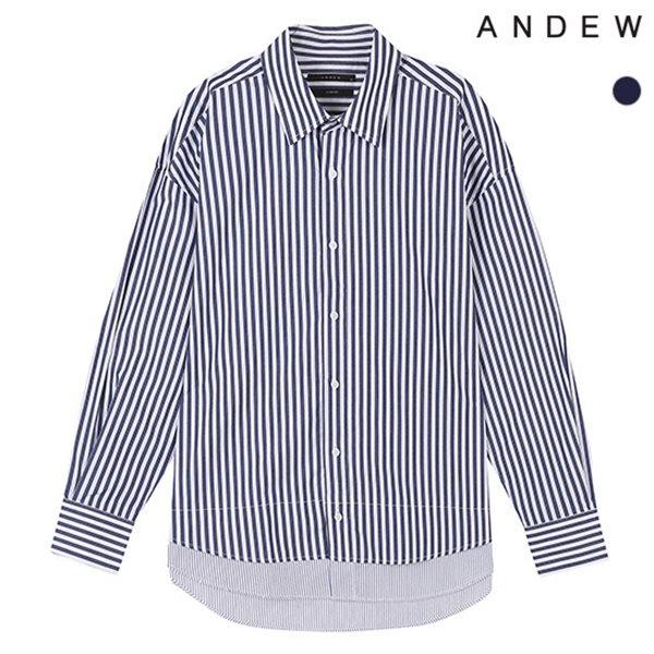 [ANDEW]남성 오버 기본카라 레이어드 스트라이프 셔츠(O183SH150P)