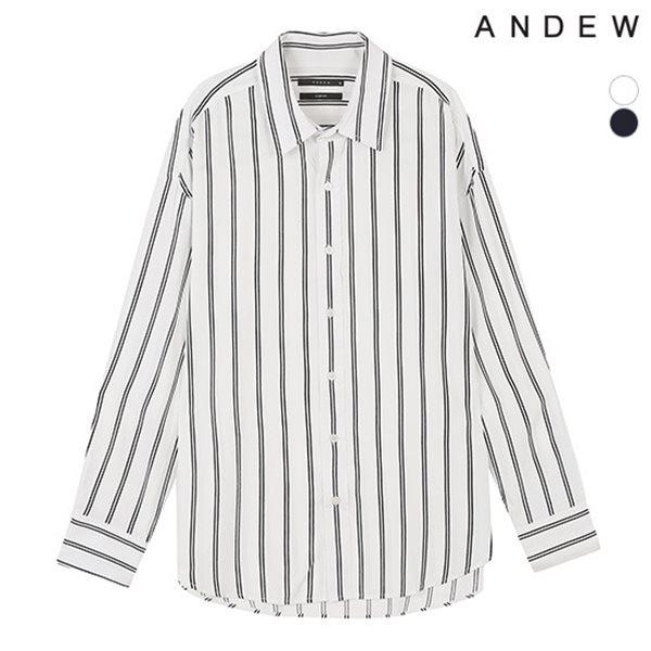 [ANDEW]남성 오버 기본카라 레이온 스트라이프 셔츠(O183SH160P)