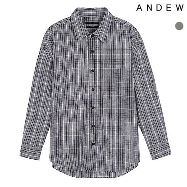 [ANDEW]남성 오버 기본카라 면 체크 셔츠(O183SH260P)