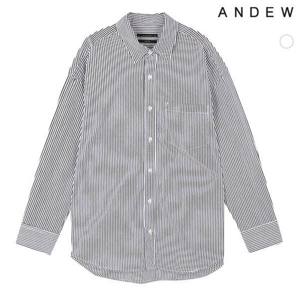 [ANDEW]남성 오버 기본카라 면 화이트 핀스트라이프 셔츠(O183SH320P)