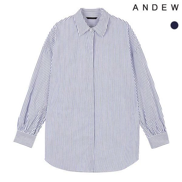 [ANDEW]여성 기본카라 스트라이프 소매셔링 셔츠(O183SH620P)