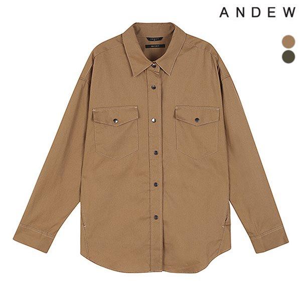 [ANDEW]유니 기본카라 아웃포켓 스티치 셔츠(O183SH010P)