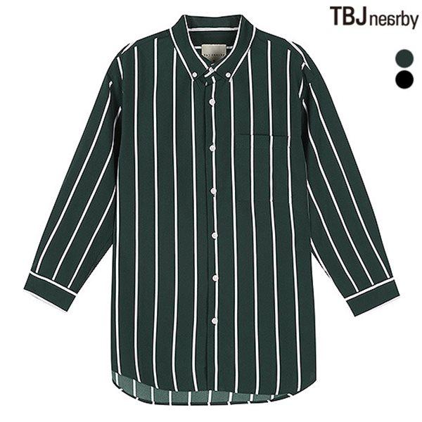 [TBJ]남성 7부 폴리 기본카라 스트라이프 셔츠(T183SH310P)