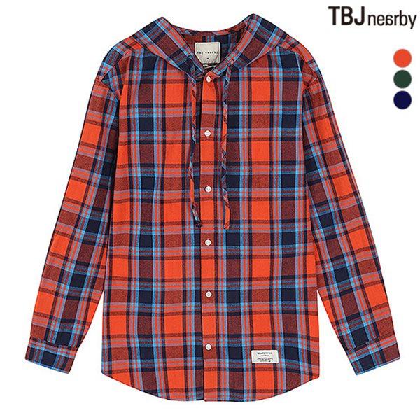 [TBJ]남성 제원단 후드 체크 셔츠(T183SH300P)