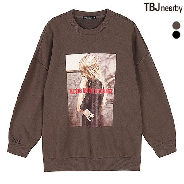 [TBJ]여성 3단쭈리 중기장 루즈핏 전사 맨투맨 티셔츠(T183TS710P)
