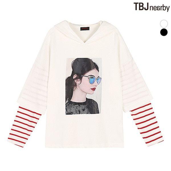 [TBJ]여성 미니쭈리 소매 레이어드 후드티셔츠(T183TS670P)